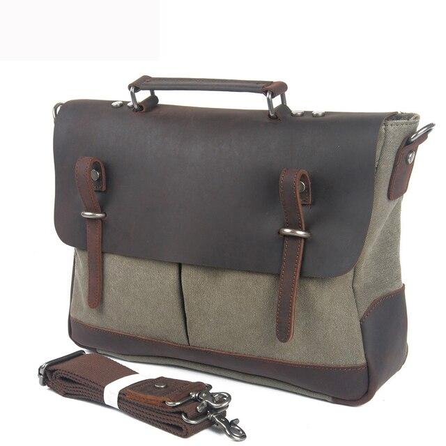 5a53c2b00b Redswan Unisex Canvas Crazy Horse Leather Bag Man Travel Briefcase Bags  Vintage messenger Shoulder Laptop Bag