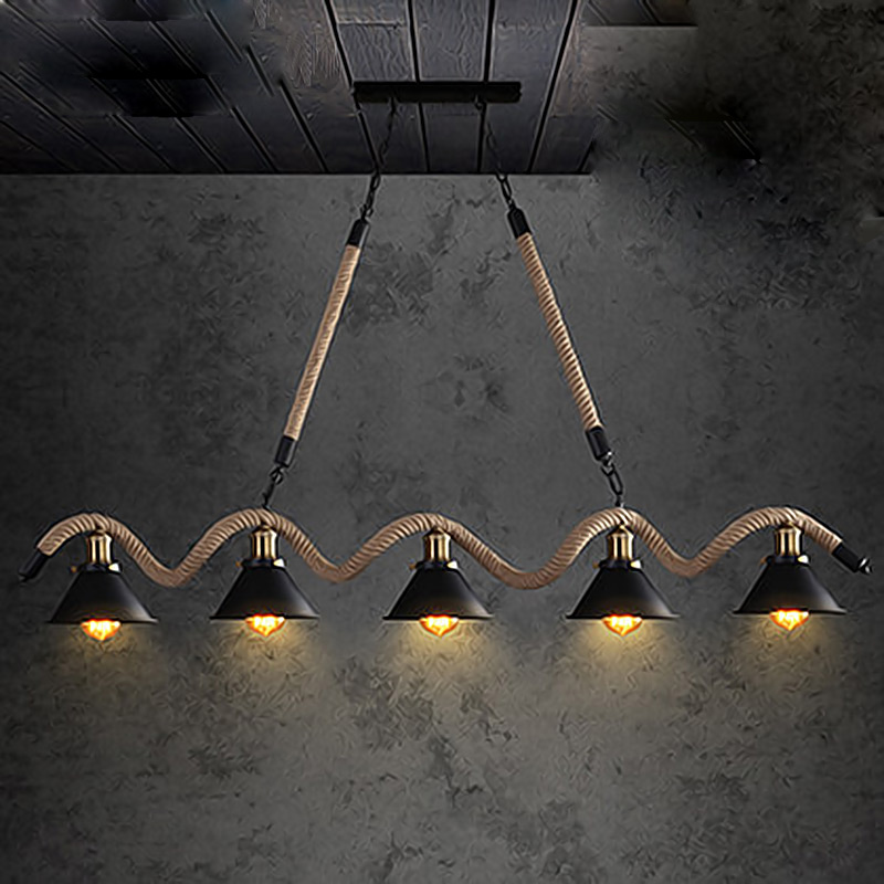 Loft vintage industrial style led five restaurant bar counter lamp American bar coffee shop snack rope chandelier lighting