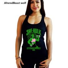 Женские майки для тренировок SHE HULK с принтом, женский топ для фитнеса, женская рубашка без рукавов, жилет, Хлопковая женская майка для бодибилдинга