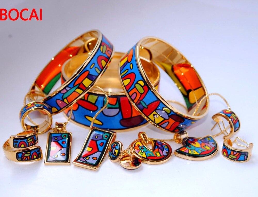 018 Cloisonne enamel jewelry European and American style 4pcs sets cloisonne jewelry enamel round ring european and american style