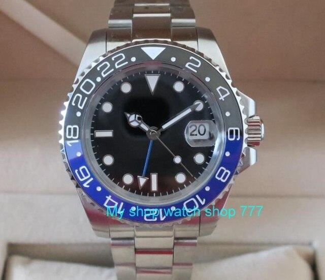 82af7396adb 40mm PARNIS GMT Vidro de Safira azul   Preto Painel de cerâmica Relógio Dos Homens  movimento