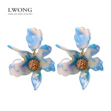 LWONG New Oversized Resin Flower Stud Earrings for Women Exquisite Shambhala Crystal Lily Post Earrings Unique Jewelry Wholesale