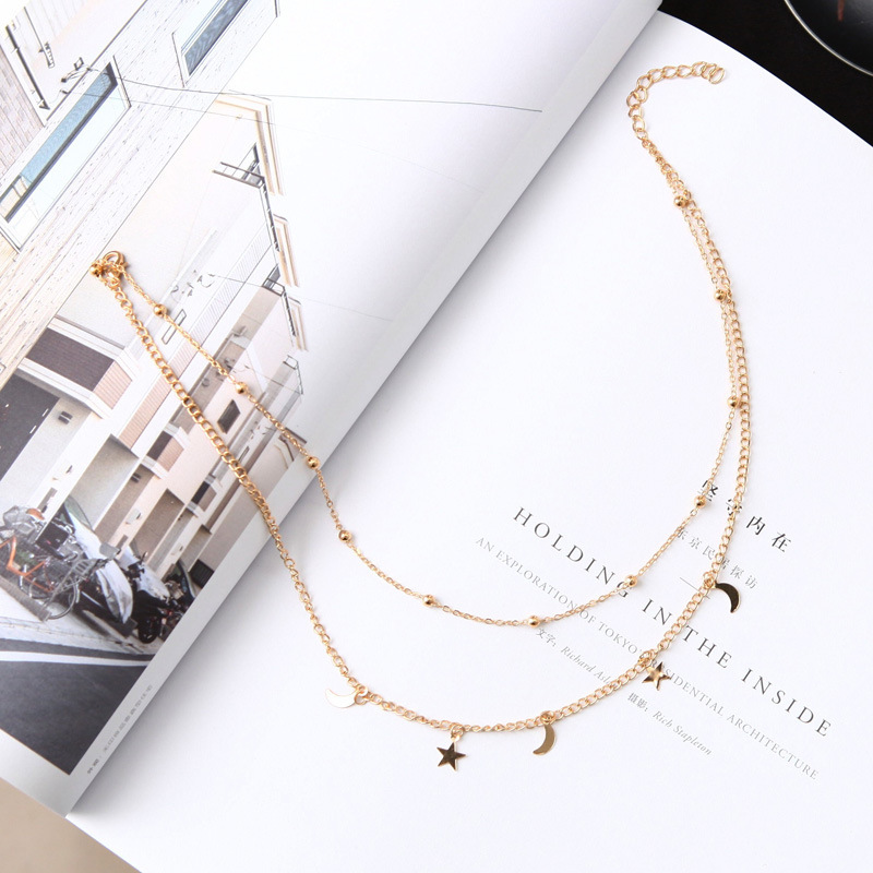 Wholesale Necklace Punk 2018 New Fashion Necklace Gold/silver Simple Double Moon Star Short Necklace Sale Acero Inoxidable Mujer