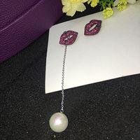 Red Corundum Zircon Inlaid Asymmetric Red Lip Pearl Earrings Pearl Detachable Wedding Bridal Party Jewelry