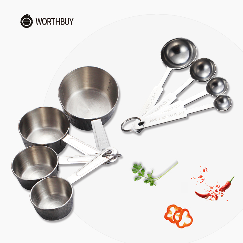 WORTHBUY 4 Pcs/Set Stainless Steel Measuring Cup Kitchen Measuring Spoons Scoop For Baking Sugar Tea Coffee Measuring Tools Set