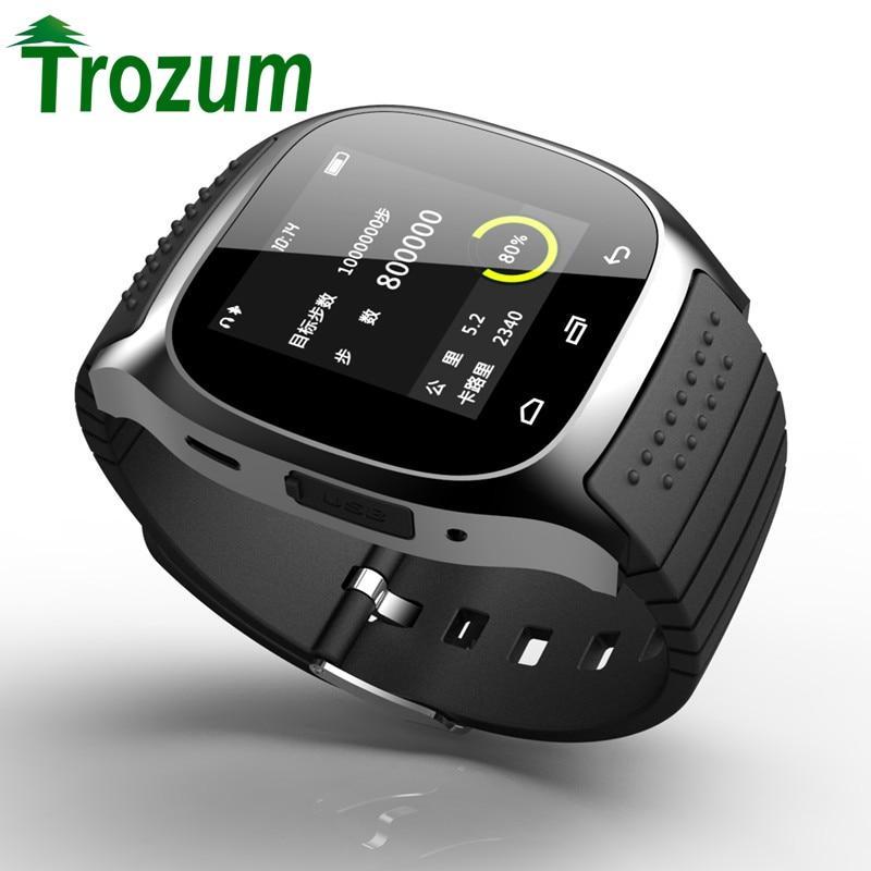 imágenes para Trozum smartwatch bluetooth m26 smart watch con led reproductor de música alitmeter podómetro para apple ios android smart phone 8955