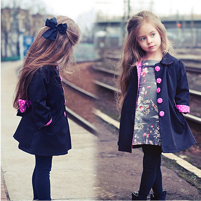 2018 Hot Sale Kids Girls Clothes Trench Coat Long Sleeve Windbreaker Autumn Toddler Girl 2 3 5 7 Years Button Polka Parka Jacket