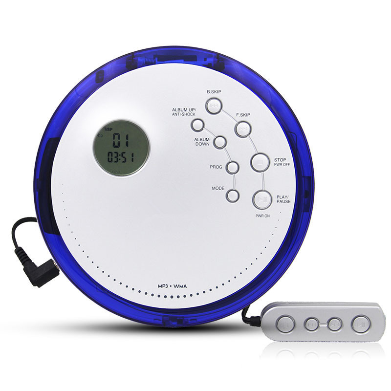 Portable CD Player Walkman Shockproof Anti Scratch Support Disc type MP3/CD /CD-ROM Heavy bass Loop play LCD screen Wire ControlPortable CD Player Walkman Shockproof Anti Scratch Support Disc type MP3/CD /CD-ROM Heavy bass Loop play LCD screen Wire Control