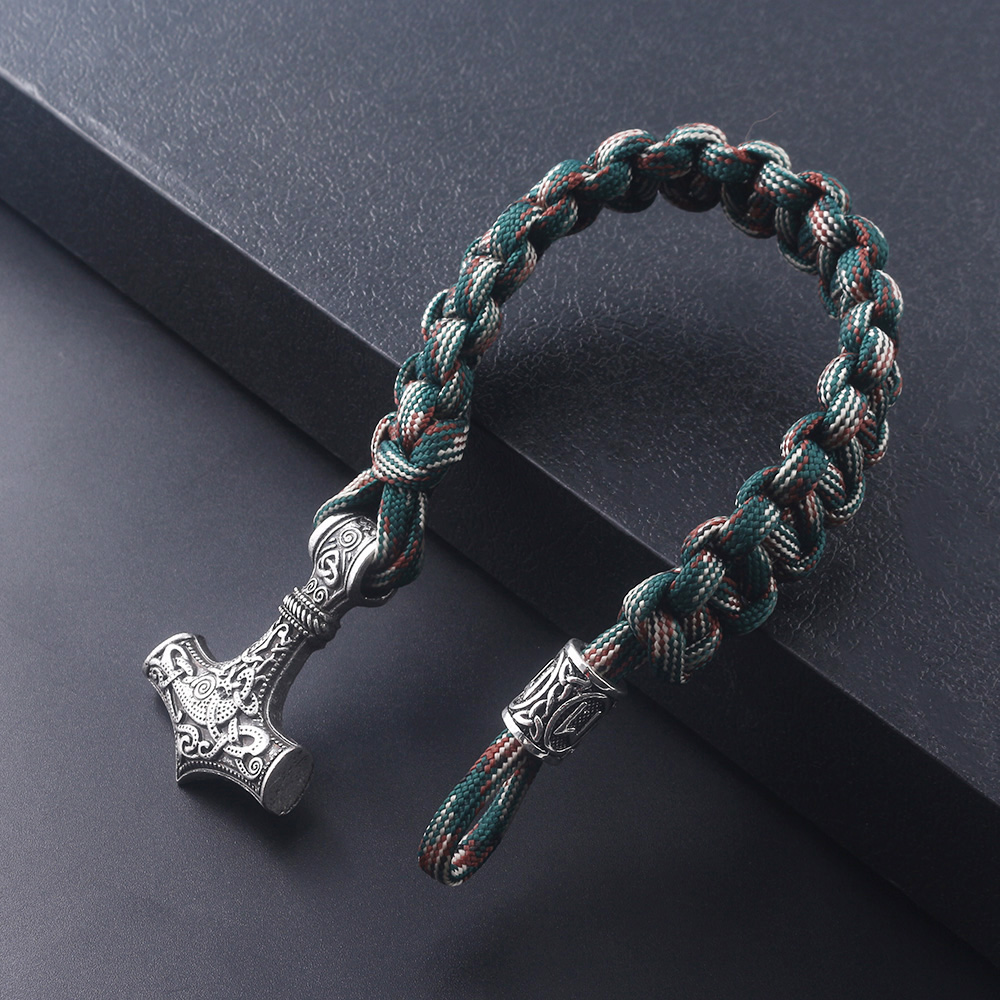 Norse Viking Anchor Braceletes Thor Hammer Bangles For Men Women Paracord Amulet Rune Knot Talisman Rope Chain Bangle jewelry in Charm Bracelets from Jewelry Accessories
