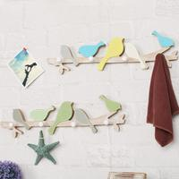 Pastoral Style Blue Color Singing Bird Wooden Wall Hanger Creative Decorative Hook Kid S Room Home