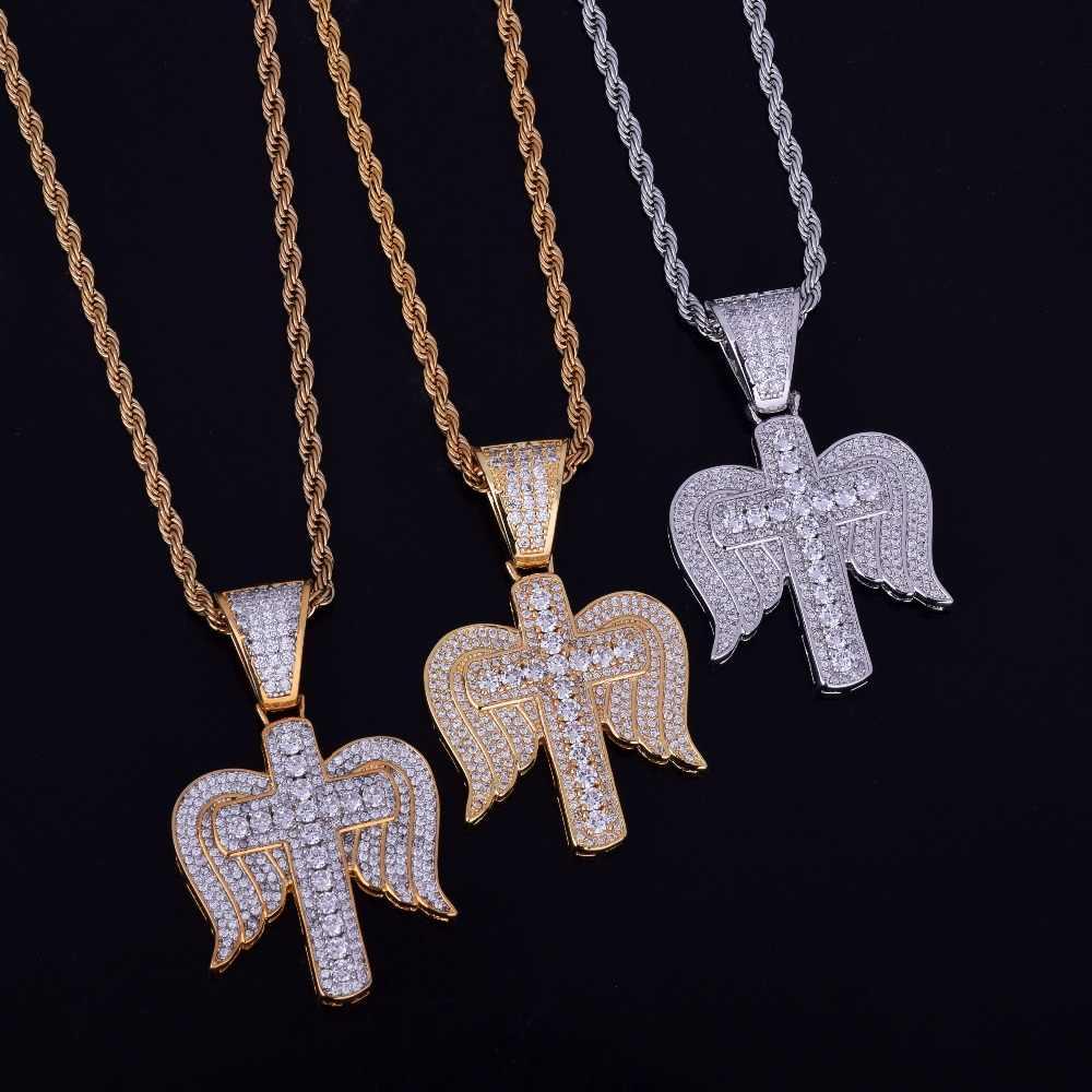 Iced Out krzyż religijny z skrzydła naszyjnik i wisiorek łańcuch urok złoto srebro Cubic cyrkon męska Hip hop biżuteria na prezent