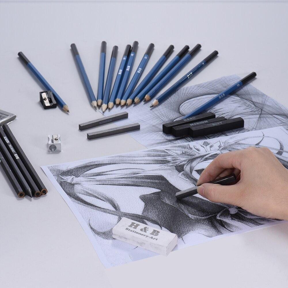 12 sketch pencils8b6b5b4b3b2bbhb2h3h4h5h 3 charcoal pencilssoft medium hard 1 graphite pencil 3 charcoal sticks soft medium