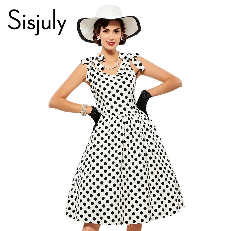Sisjuly Vintage Dress Fashion Sleeveless Style Party Dresses Sexy 1950s Pin Up Dresses Vestido