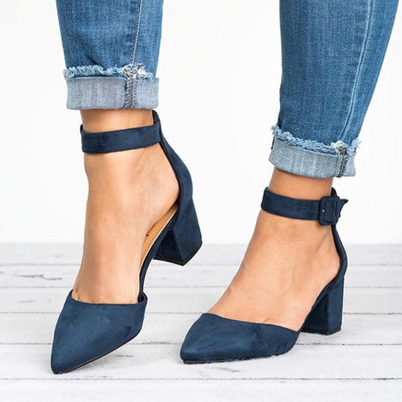 Low Heels Pumps Women Sandals 2019 Ankle Strap Casual Summer Shoes Female Size 43 Block Heels Women Shoes  Zapatos De Mujer