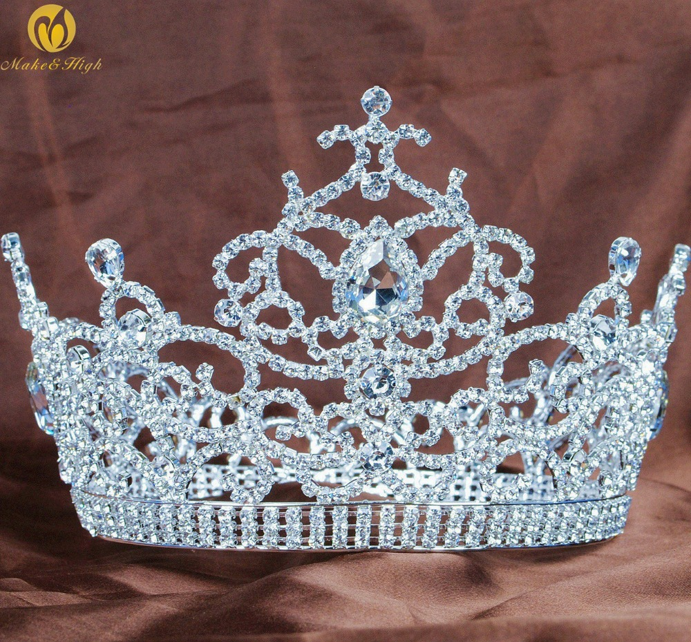 Floral Large Tiara 5.5 Crown Clear Austrian Rhinestones Crystal Miss Beauty Pageant Wedding Bridal Party Costumes peacock star bridal wedding party quality sparkling pageant beauty contest black crystal tall tiara ct1389
