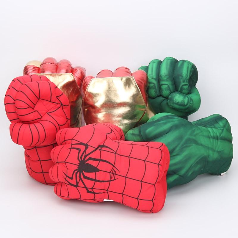 28cm The Incredible Superhero Figure Spider man the Hulks toys Iron Man boxing Gloves children boy gift Hulk Gloves
