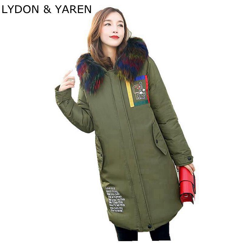Novelty 2017 winter font b women b font coat font b jacket b font fur collar