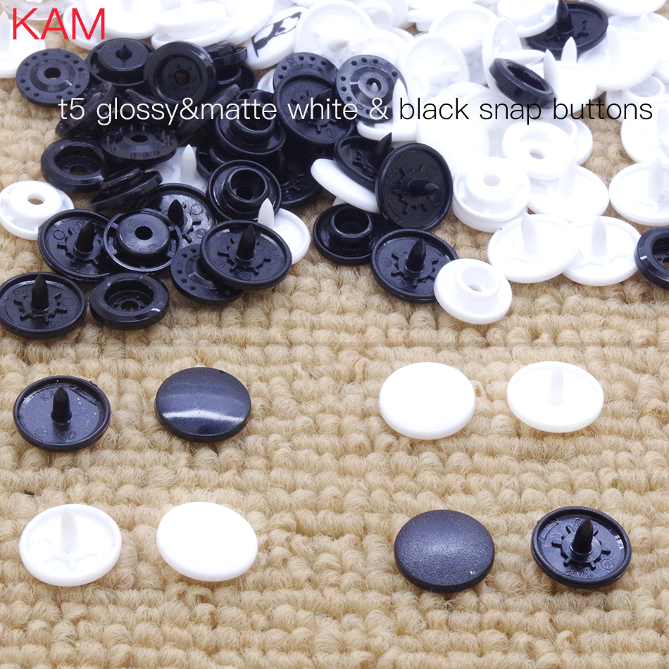 [White or Black] 200 sets Top quality Matte Glossy KAM Round Snap Button Brand T5 12mm 20 plastic Snap Button fastener n m