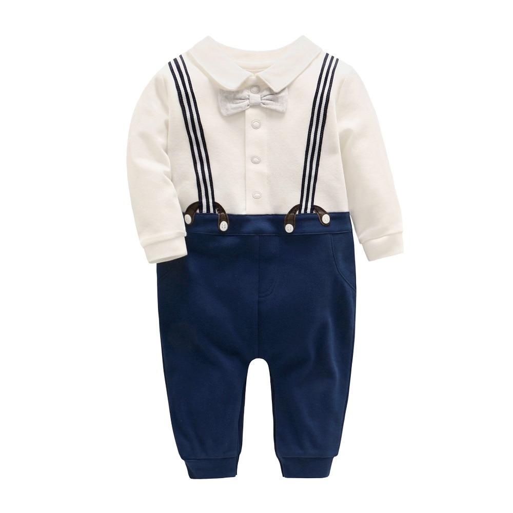 2017 Autumn New Baby Boy Gentlemen Romper Newborn Baby Bow tie Long Sleeve Cotton Jumpsuit Infantile Boys Onesie  gentlemen style striped baby boy romper playsuit