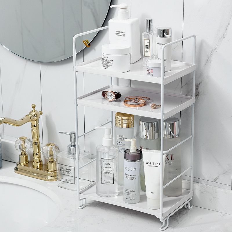 Image 2 - 3 Tiers Storage Shelf Bathroom Organizer Kitchen Rack Stand Holder Iron Bookshelf Desktop Plastic Storage Rack Corner Shelves-in Storage Holders & Racks from Home & Garden