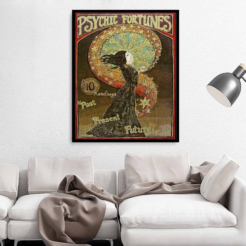 Psychic Fortunes Print Art Nouveau Gypsy Circus Giclée Canvas Print Pagan Mythology Psychedelic Bohemian Goddess Poster