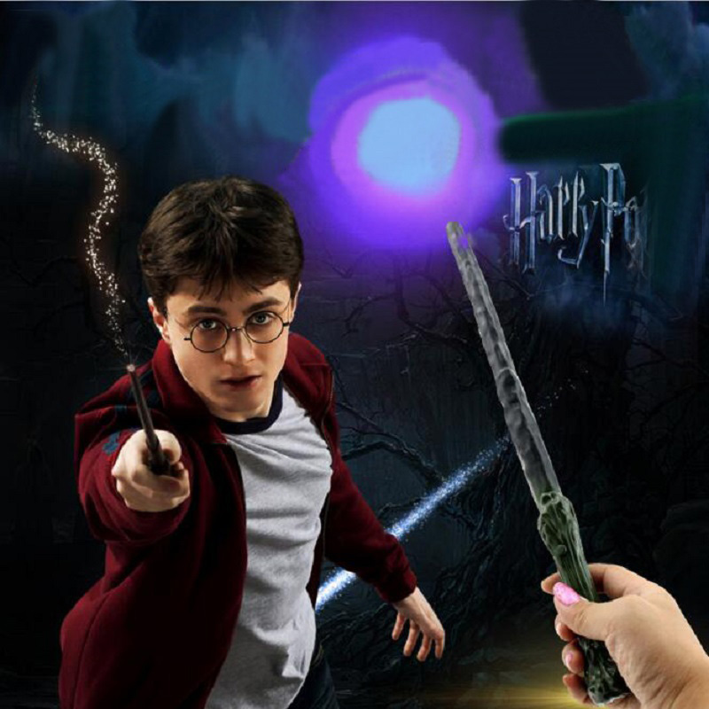 Harri Potter Hogwarts School Magic Led Light Wand Anime Figure Toy Children Halloween Party Show Jouet Gift Kids Bithday Toys