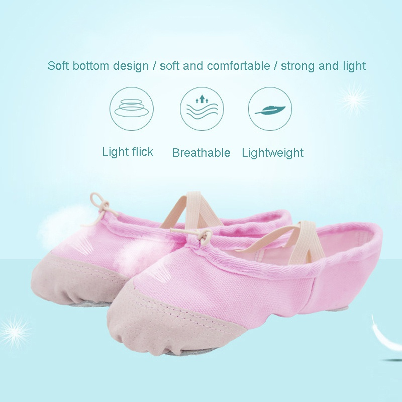 A Pair Of Male And Female Adult Children Soft Canvas Soft Bottom Elastic Yoga Dance Shoes  Adult Ballet Dance Shoes Slippers Poi
