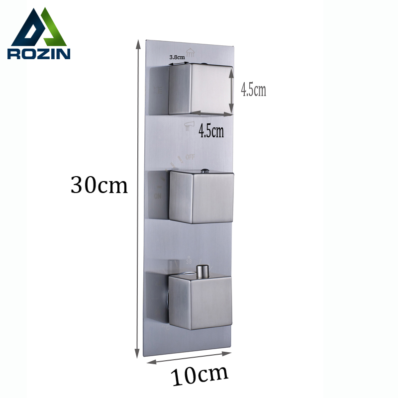 Brushed Nickel Concealed Thermostatic Mixer Valve Three Handle Shower Control Valve Control Water Temperature Valve magneto rheological directional control valve