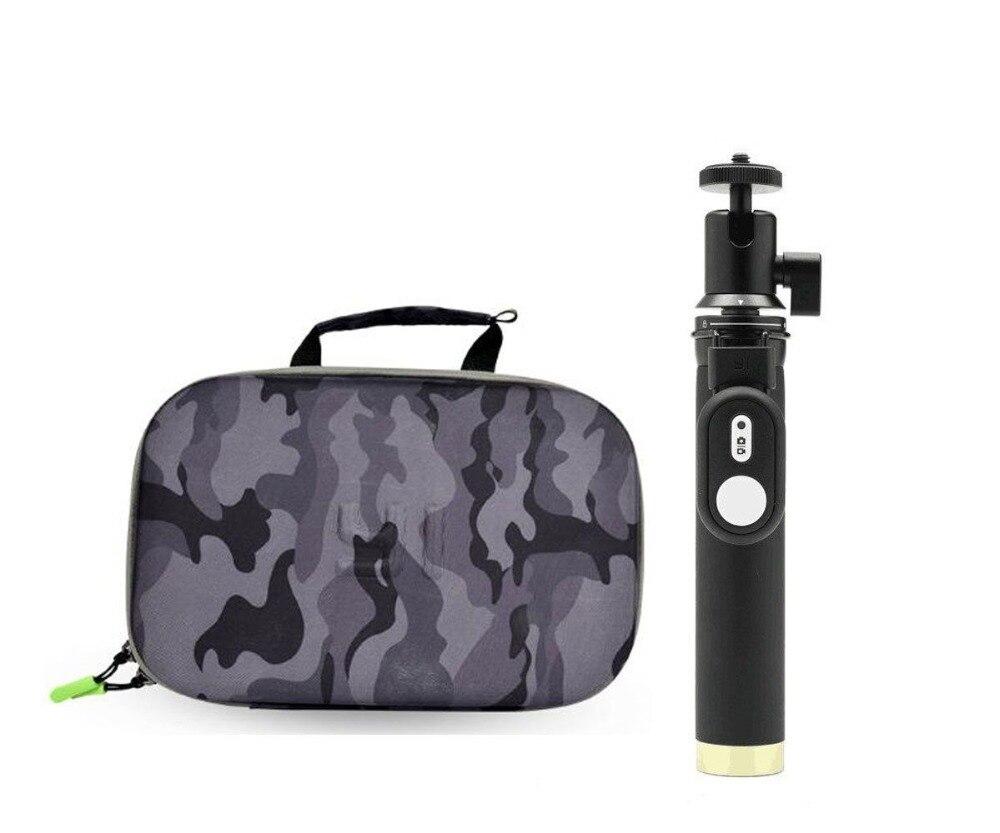 Carrying Case EVA Box Storage Bag + selfie stick monopod for Xiaomi Yi 4k 2 xiaoyi 4k+ lite Sport Action Camera Accessories