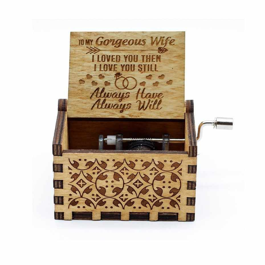 TO MY Goigeous Wife My Sun Theme Of Love Music Box Handle Ancient Music Carved In Wood For And Father Gift Birthday Presents