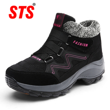 STS BRAND 2019New Winter Women Snow Boots Warm Push Ankle Block High-tops Female Waterproof Boot Rubber Travel Shoes