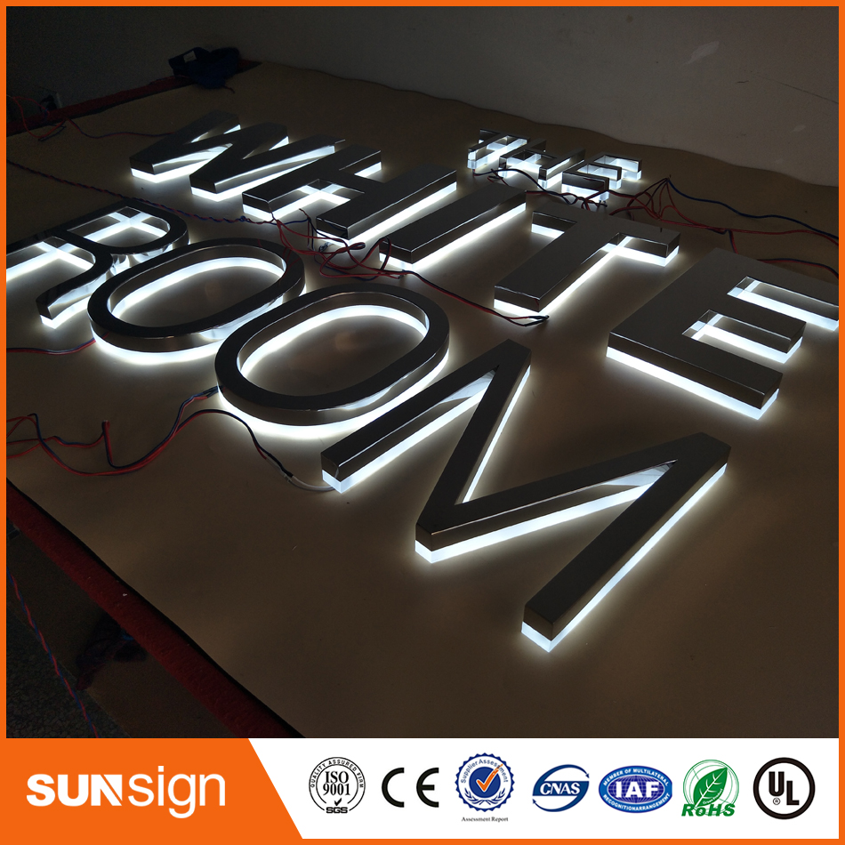 Factory Customized Outlet Outdoor Stainless Steel Backlit Led Letter Sign