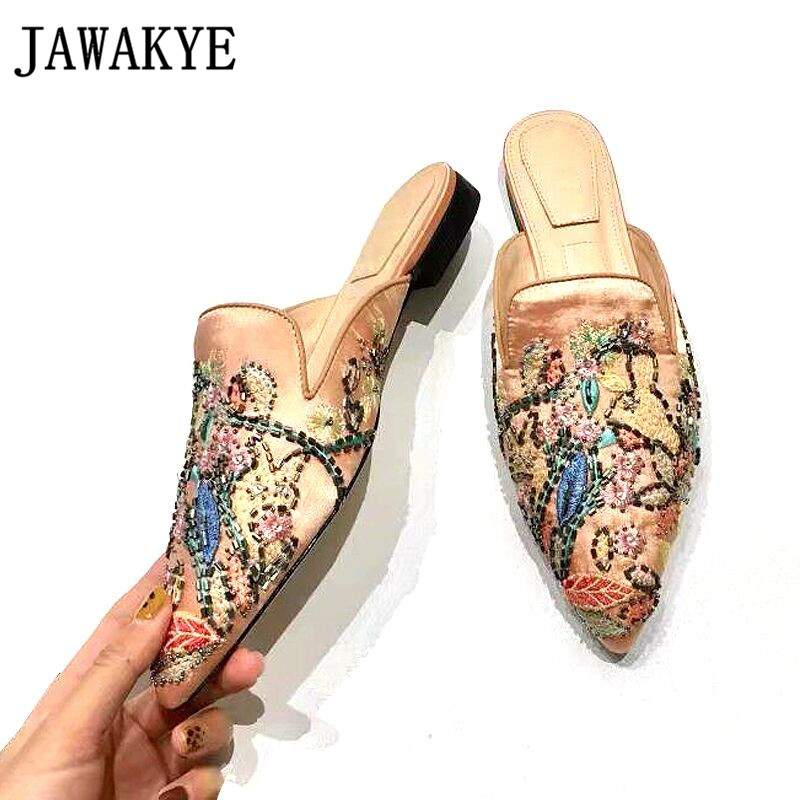 2019 Embroider Crystal satin slippers women pointed toe leather woman shoes sexy flat heel casual slippers