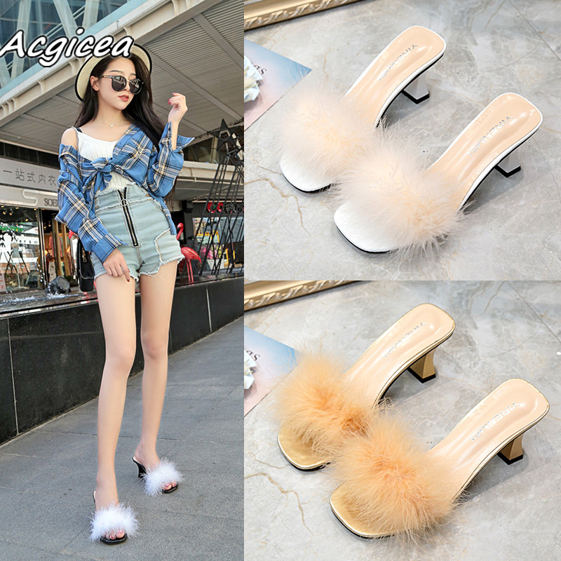 2019 Summer Fashion High-heeled Wild Casual Thick Word With Sweet Beauty Cool Slippers Female Sandals High Heels Mujer F025