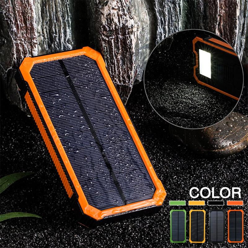 CLAITE 30000mAh Solar Charger Dual USB Power Bank 5v Phone Battery Charger External Battery Waterproof Charger For Xiaomi