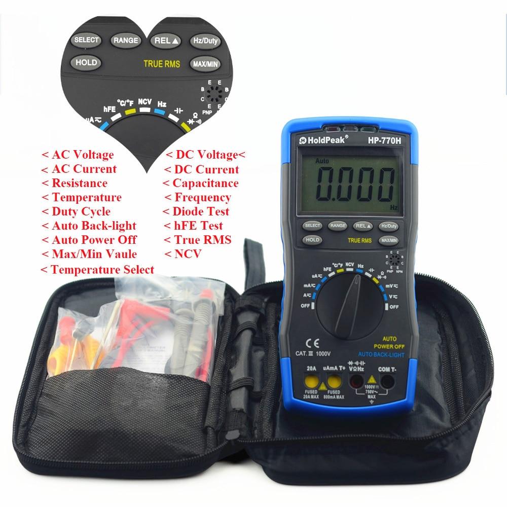 Multimetro HoldPeak HP-770H LCD Digital Multimeter Voltmeter Ohmmeter Ammeter Capacitance Tester