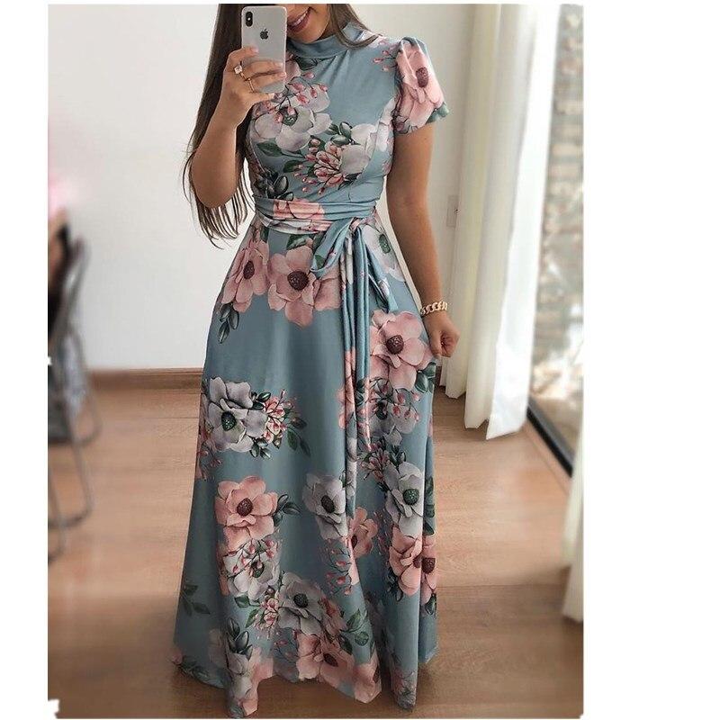 0ea5e3a04 Lossky Vestido 2018 Mulheres Verão Longo Floral Imprimir Boho Vestido de Praia  Túnica Maxi Vestido Mulheres Do Partido Evening Vestidos Feminino