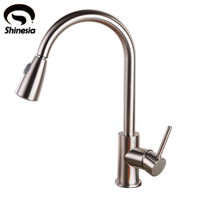 Brushed Nickel Solid Brass Pull Out Kitchen Brass Kitchen Sink Faucet Mixer Tap xoxo kitchen faucet brass brushed nickel high arch kitchen sink faucet pull out rotation spray mixer tap torneira cozinha 83014