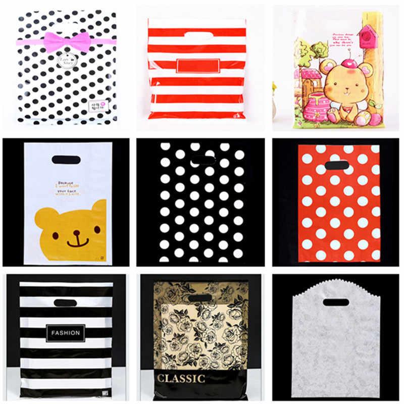 10 шт. 15x20 20x26 25x35 30x40 35x45 см пластиковые пакеты для покупок с ручками подарочные сумки ювелирные изделия Печенье биги супермаркет одежда сумки