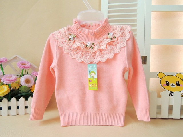 980d52b40 Baby Girl Clothes High Neck Warm Sweater Children Toddler Kids ...
