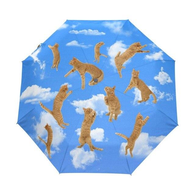 b52940121258 US $24.93 42% OFF Sky Cloud Cat Anti UV Umbrellas Automatic 3 Folding  Durable Compact Sun Umbrella Children Portable Easy Carrying Rain  Umbrella-in ...