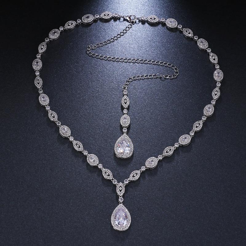 Emmaya New Design Silver And Rose  Necklace Jewelry Women Wedding Fashion Charm Crystal Zircon Stone Necklace Wedding