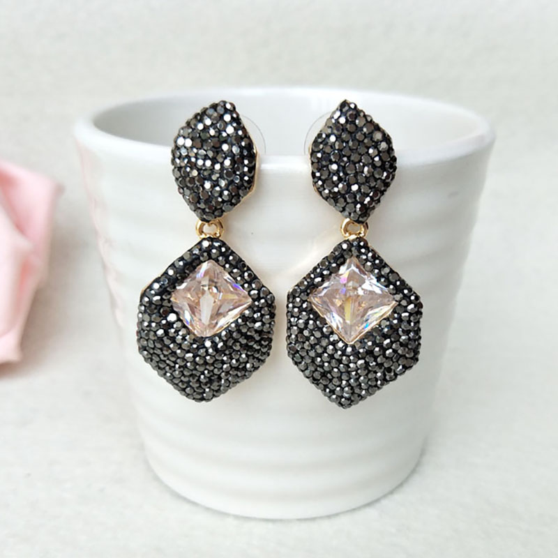 5 Pairs Octagon shape Fashion earrings Paved Rhinestone Crystal Charm Dangle earrings Jewelry for women ER468