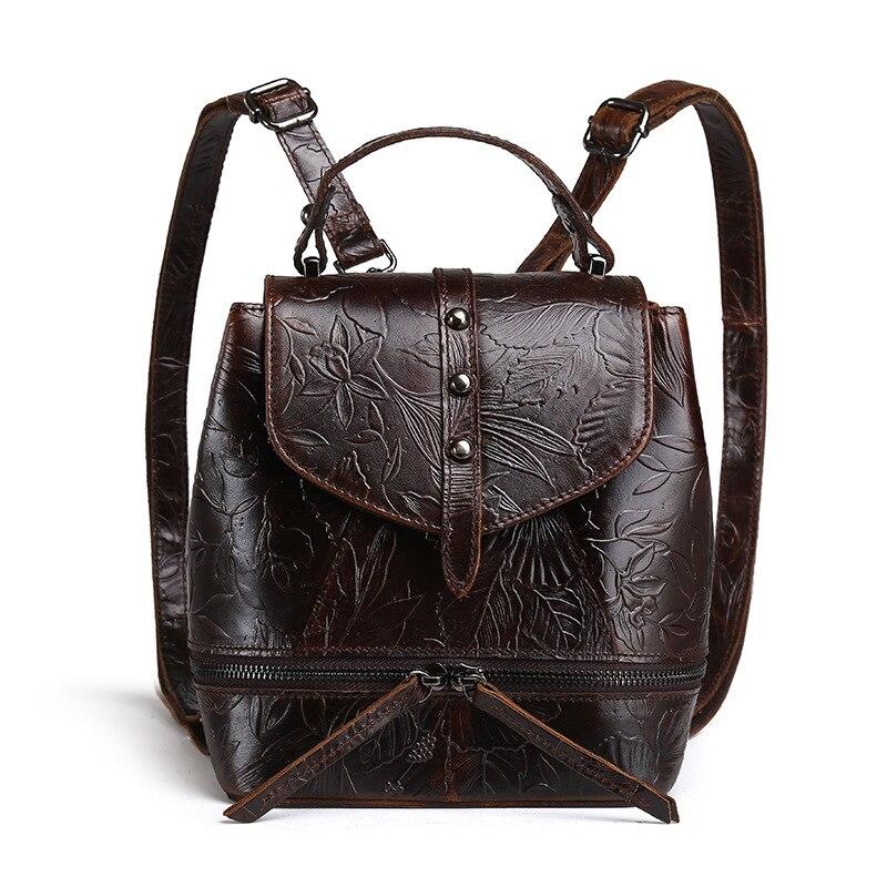 Sac à dos en relief naturel doux en cuir véritable femmes sac à dos première couche huile cire peau de vache sac à dos sacs d'école loisirs sac à dos