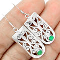 Hand make  Nature Emerald Earrings 100% 925 Solid Sterling Silver, Gift BOX, AE0376