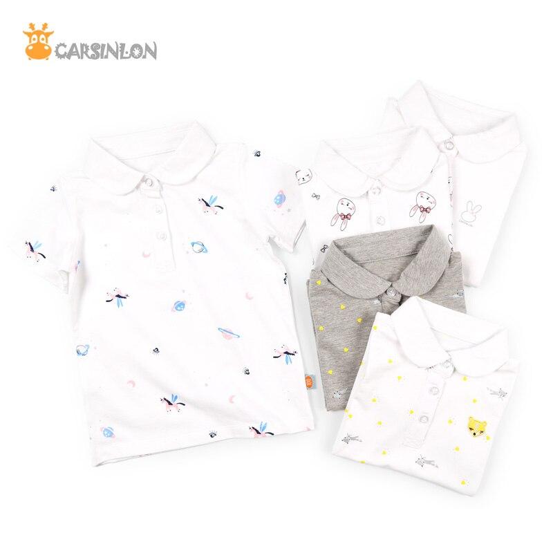 2018 NOVO Verão Meninas Camisa Pólo de Manga Curta de Algodão Fino Crianças Impressos Peter-Pan Collar Shirts Tops Tees Polo camisas Brancas