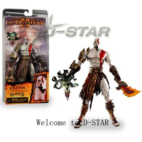 """Free Shipping Cool 7.5"""" NECA God of War Kratos in Golden Fleece Armor with Medusa Head PVC Action Figure Collection Model Toy"""