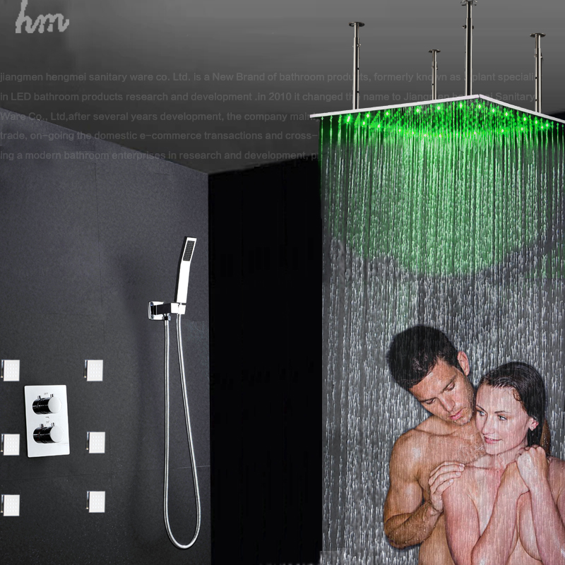 800mm Square Bathroom Big Top Showers Thermostatic Valve With Massage Body  Jets In Bathtub Faucets From Home Improvement On Aliexpress.com | Alibaba  Group