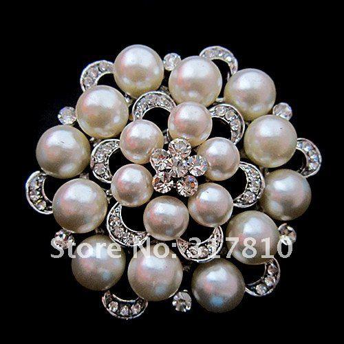 Серебряный тон искусственный жемчуг и горный хрусталь с бриллиантами, кристалами для свадьбы брошь с букетом