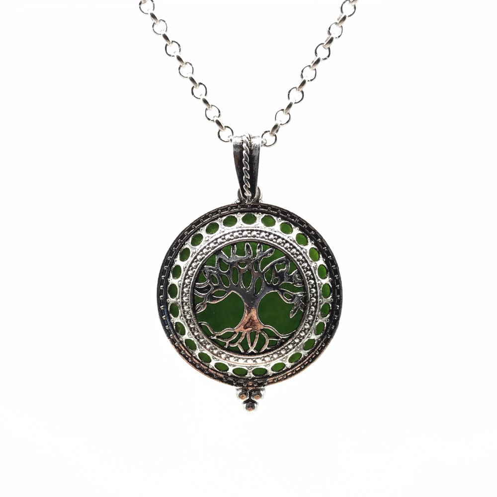 Tree Of Life Vintage Silver Aromatherapy Necklace Magnetic